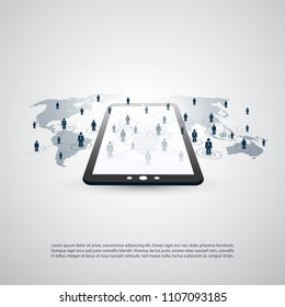 Networks - Business Connections - Abstract Cloud Computing and Global Network Connections Concept Design with World Map and Tablet PC - Illustration in Editable Vector Format