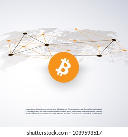 Networks - Business and Global Financial Connections, Cryptocurrency, Bitcoin Trading, Online Banking and Money Transfer Concept Design, Vector Illustration with World Map
