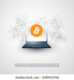Networks - Business and Global Financial Connections, Cryptocurrency, Bitcoin Trading, Online Banking and Money Transfer Concept Design, Vector Illustration with Wireframe and Laptop Computer