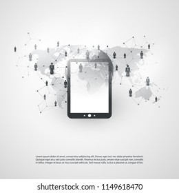 Networks - Global Business Connections - Social Media Concept Design with Tablet PC or Mobile Phone