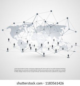Networks - Global Business Connections - Social Media Concept Design with World Map