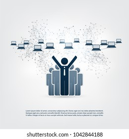 Networks - Online Business Connections, Trading, Remote Work Concept Design