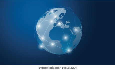 Networks Structure, Telecommunications Concept Design, Network Connections - Abstract Blue Vector Illustration