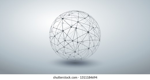 Networks - Transparent Ploygonal Globe Design on Grey Wide Background