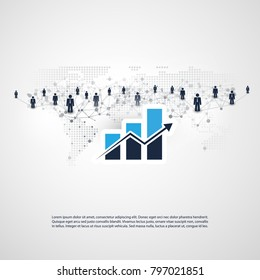 Networks - Worldwide Business and Financial Connections -  Concept Design with Word Map and Bar Chart, Vector Illustration