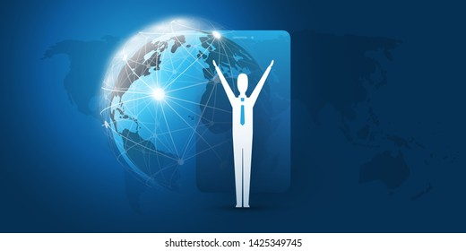 Networks - Worldwide Financial Connections - Successful Mobile Business Management Concept Design with World Map and Happy Businessman, Vector Illustration