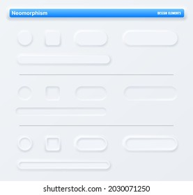 Neumorphic app buttons, navigation web interface. Vector mockup for application buttons or slider bars for music or video player control panel, mobile UI design elements. Digital audio recorder screen