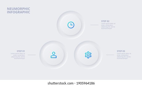 Neumorphic circle elements for infographic. Template for cycle diagram, graph, presentation and chart. Skeuomorph concept with 3 options, parts, steps or processes.