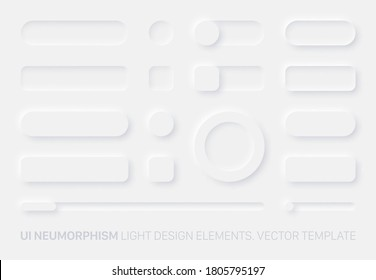 Neumorphic Vector UI Design Elements Set Light Version On White Background. UI Components Buttons, Bars, Switchers, Sliders In Simple Elegant Trendy Neomorphic Style For Apps, Websites, Interfaces