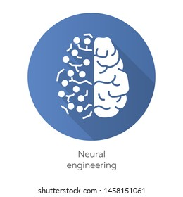Neural engineering blue flat design long shadow glyph icon. Neuroengineering. Living neural tissue and artificial constructs. Bioinformatics. Biotechnology. Vector silhouette illustration