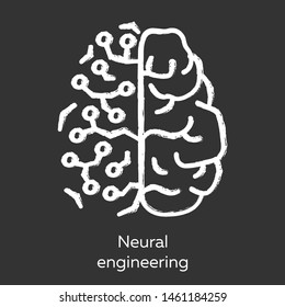 Neural engineering chalk icon. Neuroengineering. Biomedical engineering. Living neural tissue and artificial constructs. Bioinformatics. Biotechnology. Isolated vector chalkboard illustration