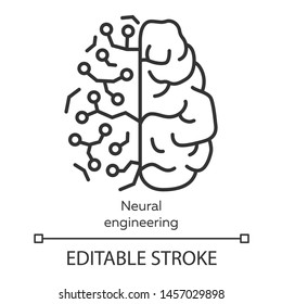 Neural engineering linear icon. Neuroengineering. Biomedical engineering. Bioinformatics. Biotechnology. Thin line illustration. Contour symbol. Vector isolated outline drawing. Editable stroke