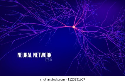 Neural network 3d abstract vector illustration. Data tree with root. Information stream. Kernel computing system