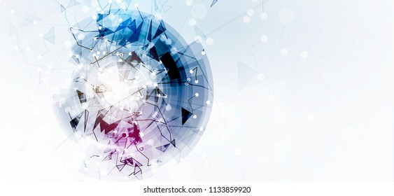 Neural network concept. Connected cells with links. High technology process. Abstract futuristic background