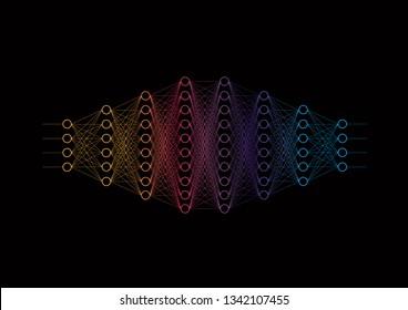 Neural network diagram, input and output data, hidden layers. Data analysis, concept pattern