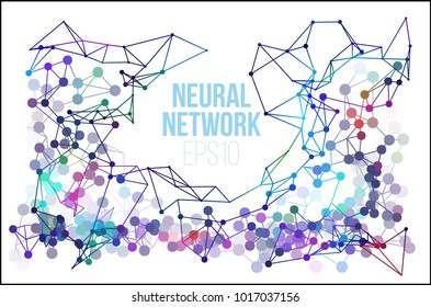 Neural network illustration. Abstract machine learning process. Geometric data cover background