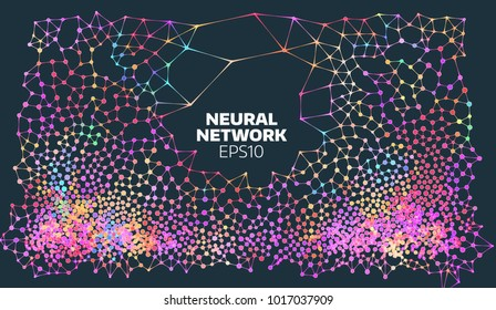 Neural network illustration. Abstract machine learning process. Geometric data cover background. artificial intelligence