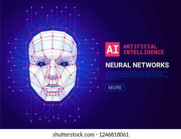 Neural networks and artificial intelligence concept. Human face consisting of polygons, points, lines and binary data flow on blue background. Machine learning and cyber mind. Vector illustration