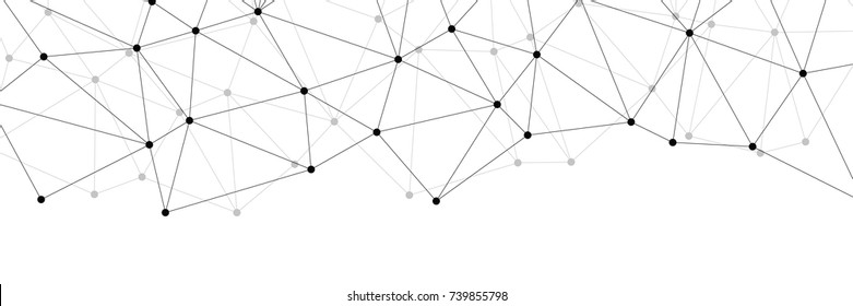 Neural networks conception for web-site header. Technology concept slide for business presentation from black points of connection lines on white background. IT-development conception