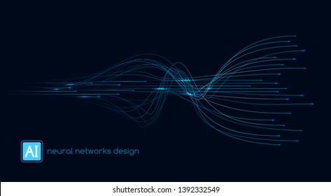 Neural networks design, AI concept, digital abstract wave lines, vector template