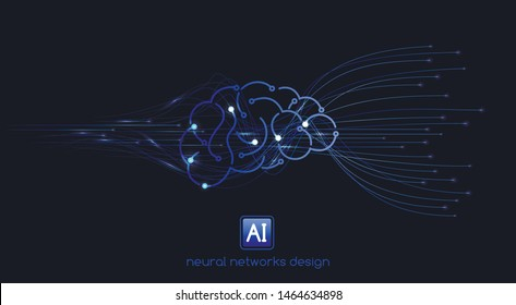 Neural networks design, artificial intelligence concept, digital abstract wave lines, vector template
