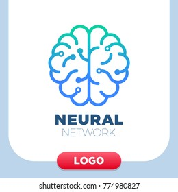 Neural networks human brain logo icon. Chip or tech creative symbol
