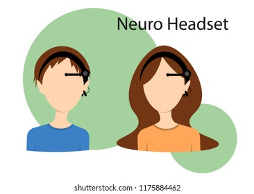 Neuro headset flat vector illustration. Concept of neuro fitness training, icon for products. Boy and girl in eeg headset.