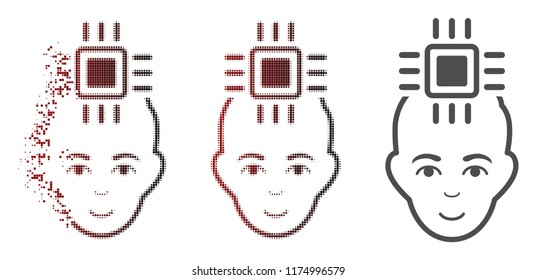 Neuro interface icon with face in sparkle, pixelated halftone and undamaged entire versions. Pixels are composed into vector sparkle neuro interface shape.