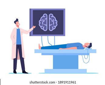 Neurobiology Medicine, Brain Mri. Doctor and Patient Characters in Hospital on Medical Examination with Computer Monitor and Patient Head Tomography Diagnostics. Cartoon People Vector Illustration