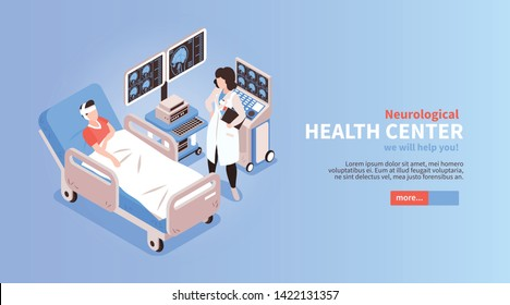 Neurological medial health center home page isometric horizontal web banner with  hospitalized patient doctor equipment vector illustration
