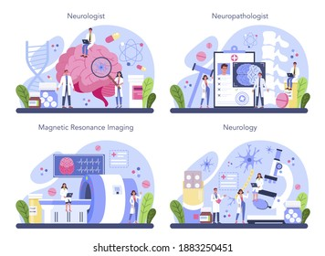 Neurologist concept set. Doctor examine human brain. Idea of doctor caring about patient health. Medical MRI diagnosis and consultation. Vector illustration in cartoon style