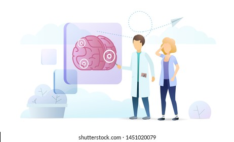 Neurology clinic, neurobiology vector illustration. Neurologist doctor and patient with headache cartoon characters. Medical migraine treatment, diagnosis center. Human brain physiology study.