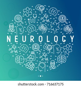 Neurology concept in circle with thin line icons: brain, neuron, neural connections, neurologist, magnifier. Vector illustration for background of medical survey or report.