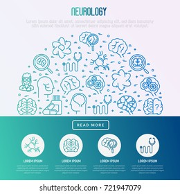 Neurology concept in half circle with thin line icons: brain, neuron, neural connections, neurologist, magnifier. Vector illustration for medical survey or report.