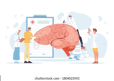 Neurology disease diagnostics, neurosurgery illness treatment. Doctor neurologist team character in uniform study tiny nerve examine huge human brain, test mind sense. Healthcare, medicine