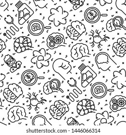 Neurology seamless pattern with thin line icons: brain, neuron, neural connections, neurologist, magnifier. Vector illustration for background of medical survey or report.