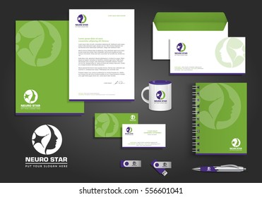 Neurology Star Logo, corporate identity template design, stationery green