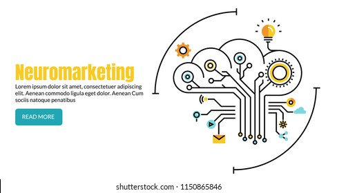 Neuromarketing flat line vector, Commercial marketing conceptual banner with icons and texts