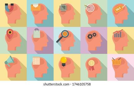 Neuromarketing icons set. Flat set of neuromarketing vector icons for web design