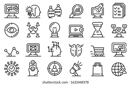 Neuromarketing icons set. Outline set of neuromarketing vector icons for web design isolated on white background