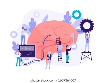 Neuromarketing technology concept with people cartoon characters analyzing customer behavior and developing marketing strategy, flat isolated vector illustration.
