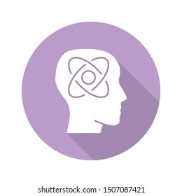 Neurophysics violet flat design long shadow glyph icon. Nervous system, human brain studying. Biophysis branch. Neuroscience research. Cognitive neuroscience. Vector silhouette illustration