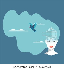 Neuroscience - Bird flying out of the cage on a woman's head in Sky Background