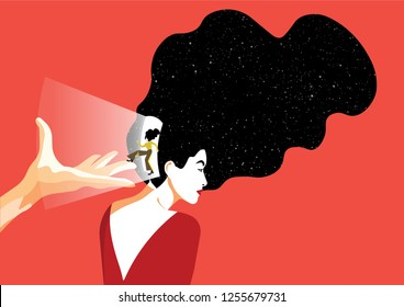Neuroscience -  Opening Door of the Woman Inside the Head in a Cool Red Background