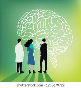 Neuroscience - People looking at the image of a brain