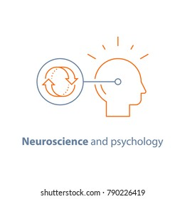 Neuroscience and psychology, bias concept, emotional intelligence, mindset, decision making, habit cycle, obsessive thinking, vector line icon, thin stroke