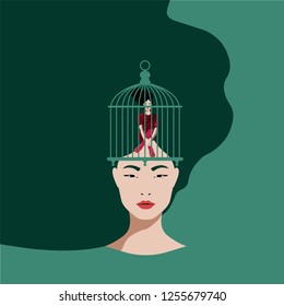 Neuroscience - Woman inside the birdcage on a woman's head in Green Background