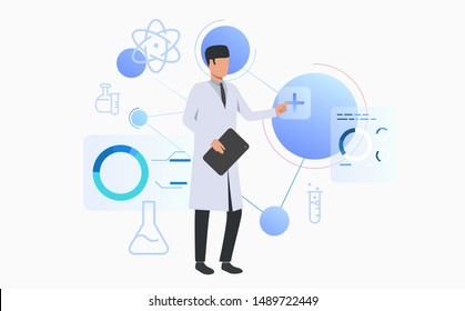 Neuroscientist conducting research. Science laboratory, clinical lab, experiments. Research concept. Vector illustration for webpage, landing page
