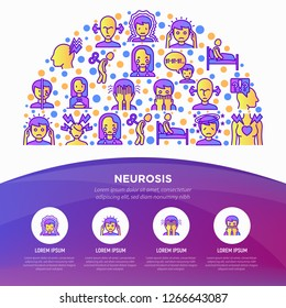 Neurosis concept in half circle with thin line icon: panic attack, headache, fatigue, insomnia, despair, phobia, mood instability, stuttering, psychalgia. Vector illustration, web page template.