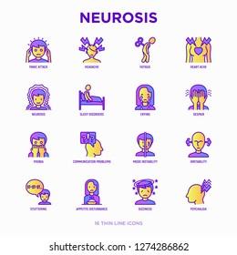 Neurosis thin line icon set: panic attack, headache, fatigue, insomnia, despair, phobia, mood instability, stuttering, psychalgia, dizziness. Modern vector illustration.